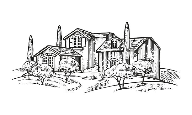 Rural landscape with villa, farm with field, olive tree , cypress Rural landscape with villa or farm with field, olive tree and cypress. Vector engraving vintage black illustration. Isolated on white background. villa stock illustrations