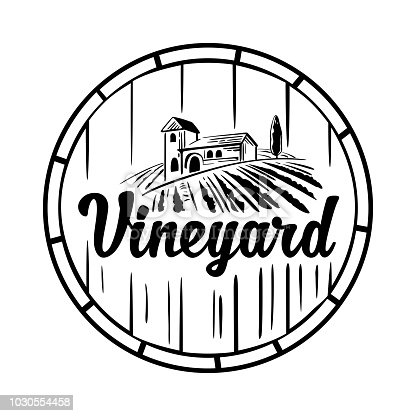 Rural landscape with villa, vineyard, wooden barrel, fields and hills. Black and white vintage vector illustration for label, poster, logotype, icon