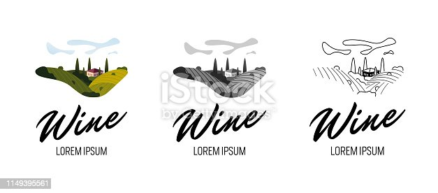 Rural landscape with vineyard fields, villa, trees set in colorful, grey, line vintage style. Trendy concept for wine list, bar or restaurant menu, labels and production package. Vector illustration