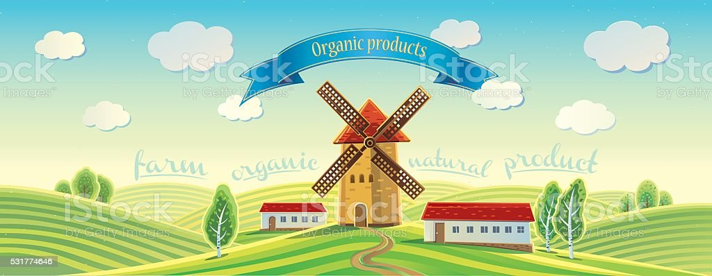 Rural landscape with windmill. vector art illustration