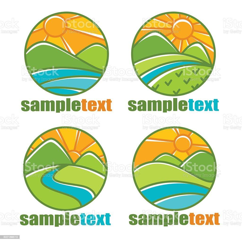 rural landscapes icon emblems line art style vector art illustration