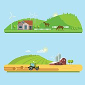 Farm life: natural economy, agriculture,  harvesting, life in the countryside, rural landscapes with fields and hills. Tractor in the field harvests. Vector flat illustration