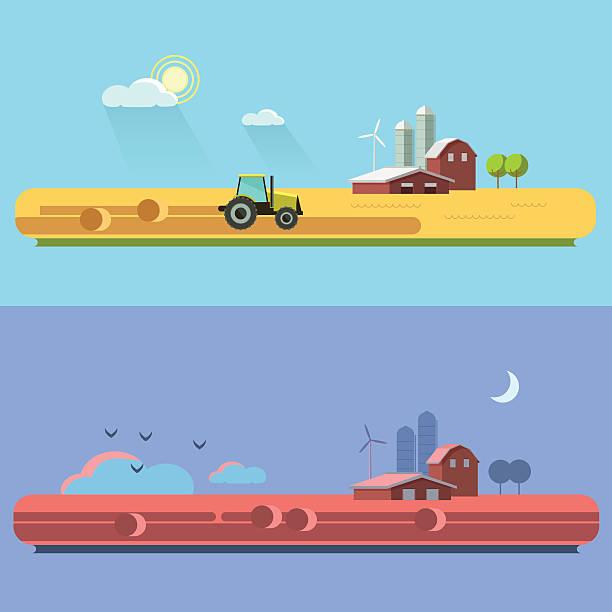 Ländliche Landschaft mit Feldern und Hügeln und Traktor – Vektorgrafik