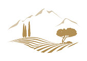 rural mediterranean vector landscape illustration with cypress trees, pine, hills, plowed fields and the mountains in the background