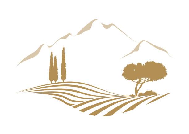 bildbanksillustrationer, clip art samt tecknat material och ikoner med landsbygdens medelhavet vektor landskap illustration med cypress träd och tall - vineyard