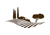 rural mediterranean vector landscape illustration with cypress trees, cottage, hills, plowed fields and pine