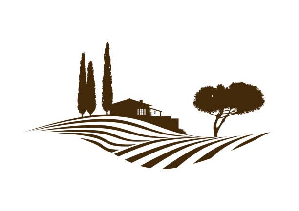 bildbanksillustrationer, clip art samt tecknat material och ikoner med landsbygdens medelhavet vektor landskap illustration med cypress träd, stuga och tall - vineyard