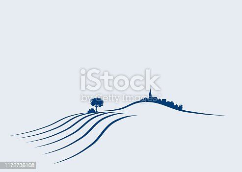 rural german agricultural vector landscape illustration with plowed fields and village on a hill