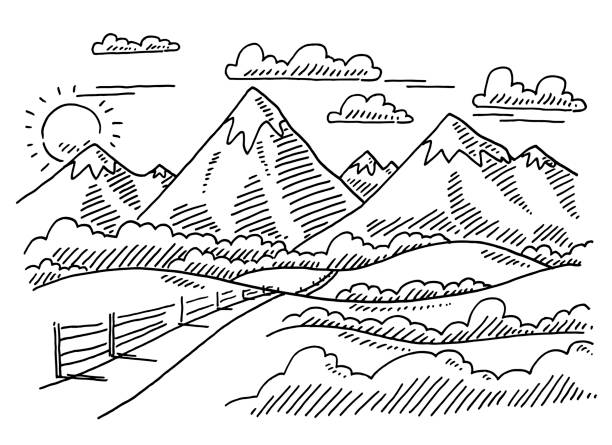Rural Mountain Landscape Drawing Hand-drawn vector drawing of a Rural Mountain Landscape. Black-and-White sketch on a transparent background (.eps-file). Included files are EPS (v10) and Hi-Res JPG. black white snow scene silhouette stock illustrations