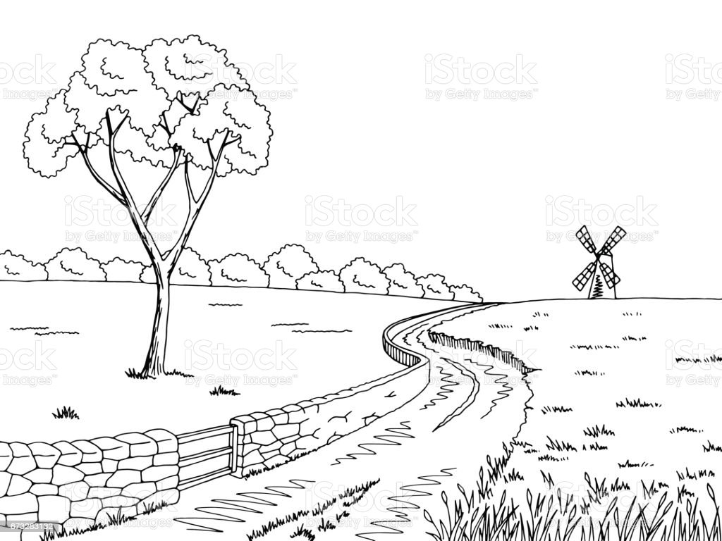 Rural road graphic black white landscape sketch illustration vector royalty-free rural road graphic black white landscape sketch illustration vector stock vector art & more images of black color