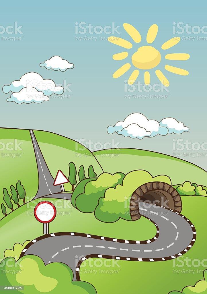 Rural road vector art illustration