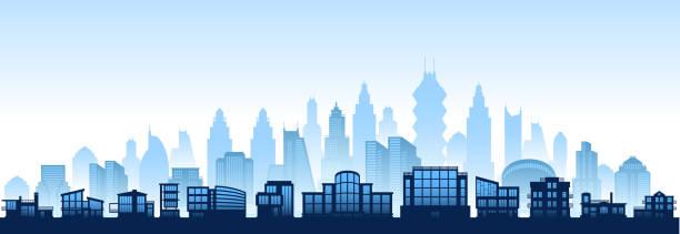 stockillustraties, clipart, cartoons en iconen met rural skyline panoramic horizontal background - foreground background perspective graphic