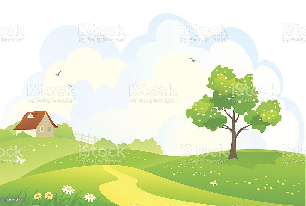 Rural spring scene vector art illustration