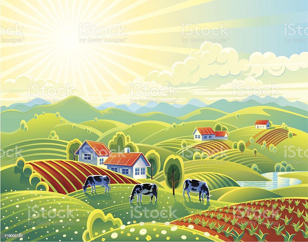 Rural summer landscape royalty-free stock vector art