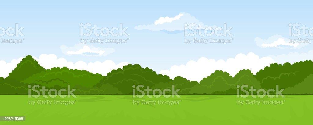 Rural summer landscape vector art illustration