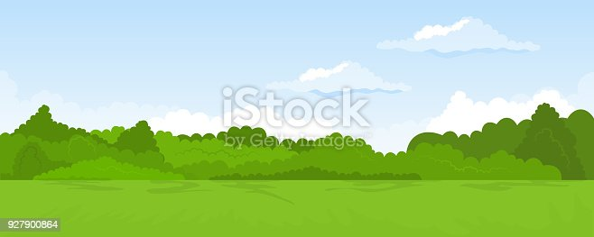 Cartoon illustration of the rural summer landscape