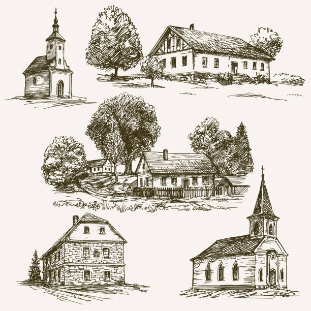 Rural village landscape, farm. Hand drawn set. Rural village landscape, farm. Hand drawn set. church stock illustrations