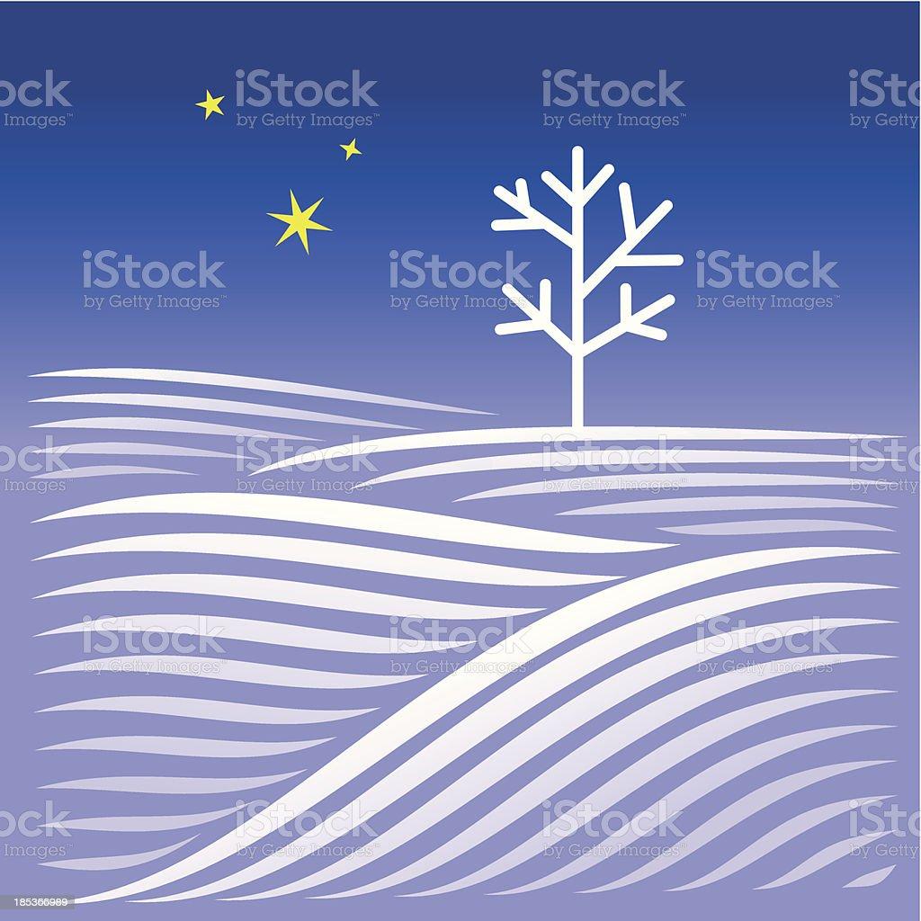 Ländliche Landschaft mit Baum winter Abend – Vektorgrafik