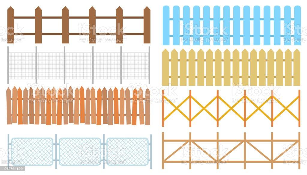 Rural wooden fences, pickets vector. White silhouettes fence for garden illustration vector art illustration
