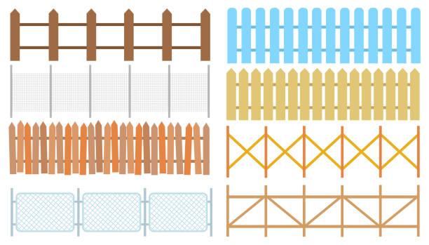 stockillustraties, clipart, cartoons en iconen met landelijke houten hekken, piketten vector. witte silhouetten hek voor tuin illustratie - hek