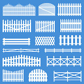 Rural wooden fences. White village pattern barrier, sheep and cattle picket, yard decoration element. Vector flat style cartoon illustration isolated on blue background
