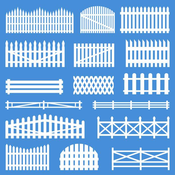 stockillustraties, clipart, cartoons en iconen met landelijke houten omheiningen - fence