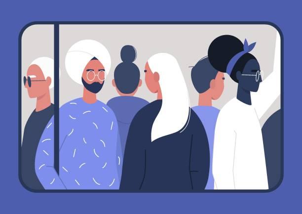Spitsuur, een diverse groep pendelende passagiers, door het uitzicht op het treinraamvectorkunst illustratie