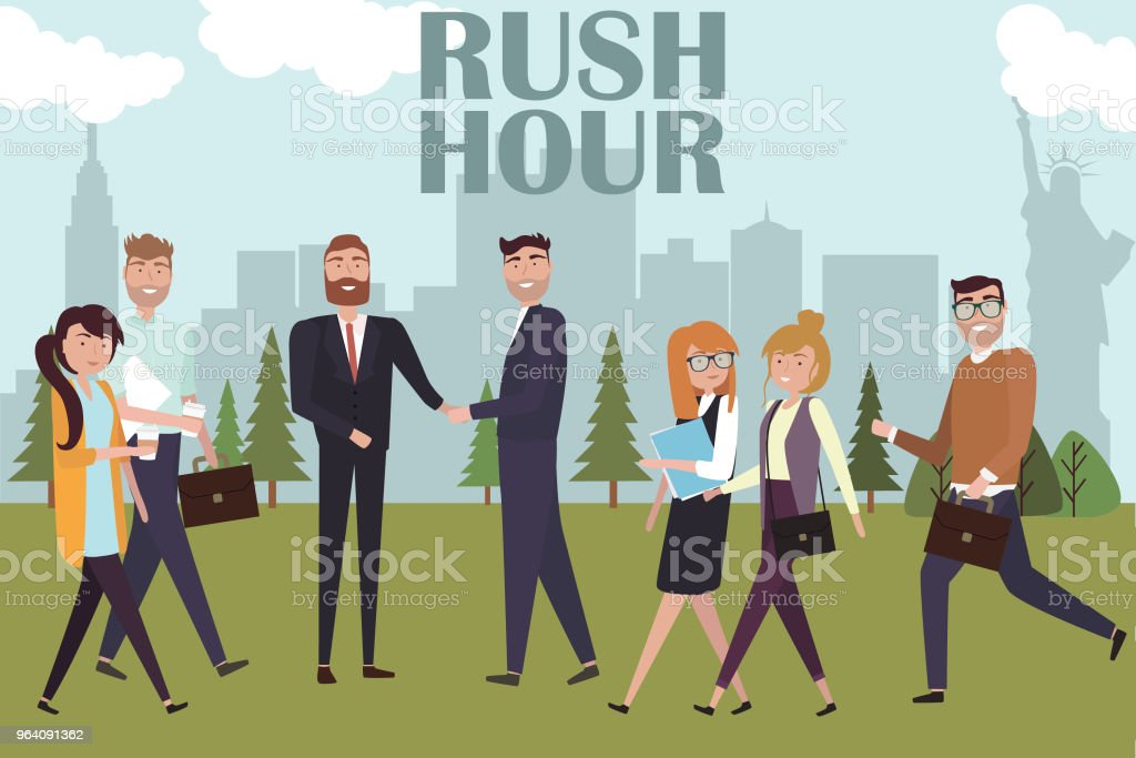 Rush hour in city park and Creative people go to work and interact with together - Royalty-free Adult stock vector