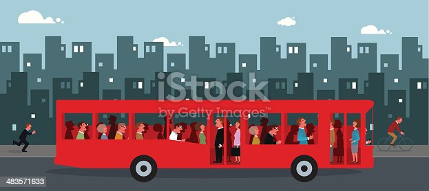 Vector illustration of a bus in rush hour