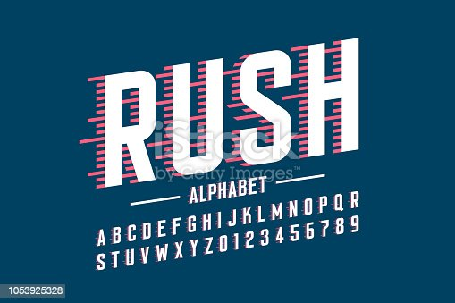 Speed style font, alphabet and numbers vector illustration