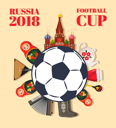 Russia 2018 Football Cup Color Vector Illustration