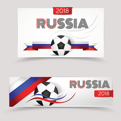 Russia 2018 football, world sport competition. Vector paper banners design