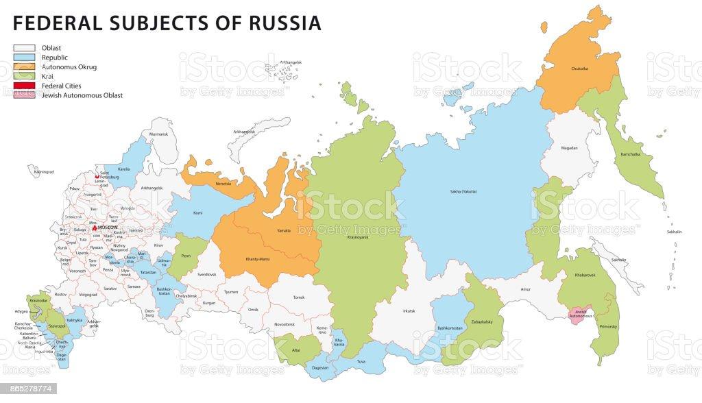 Karte Russland Asien.Administrative Karte Von Russland Stock Vektor Art Und Mehr