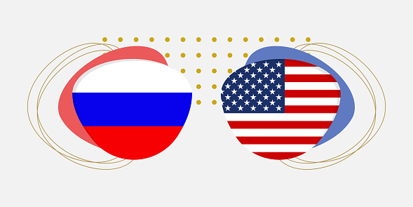 Russia and USA flags. American and Russian national symbols with abstract background and geometric shapes. Vector illustration.