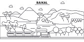 Russia, Baikal architecture line skyline illustration. Linear vector cityscape with famous landmarks, city sights, design icons. Landscape wtih editable strokes