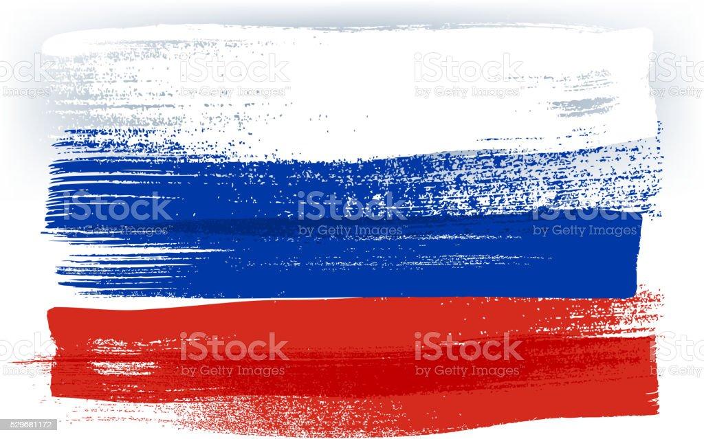 Russland bunte mit Pinselstrichen Gemalte Flagge – Vektorgrafik