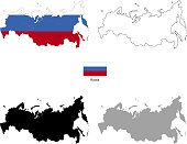 Russia country black silhouette and with flag on background
