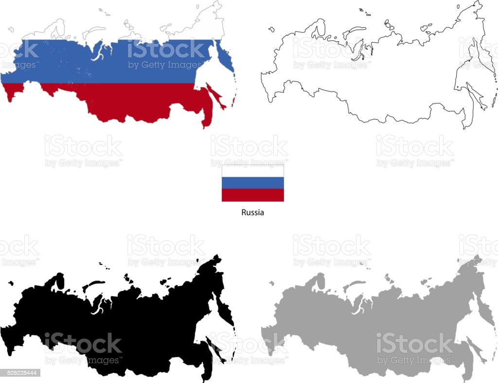 Russia country black silhouette and with flag on background vector art illustration