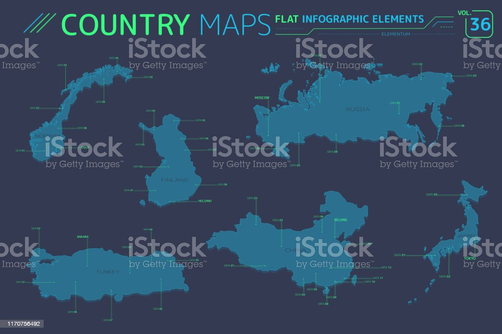 Russia Finland Turkey Norway China And Japan Vector Maps Stock Illustration Download Image Now Istock