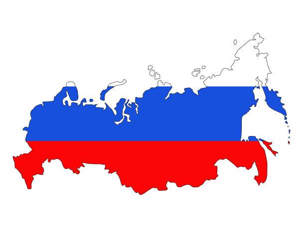 ilustraciones, imágenes clip art, dibujos animados e iconos de stock de mapa y bandera de rusia - bandera rusa