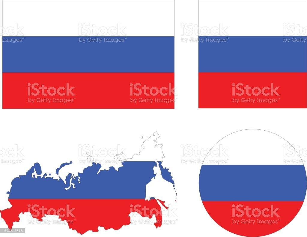 ロシアの旗地図 - イラストレー...