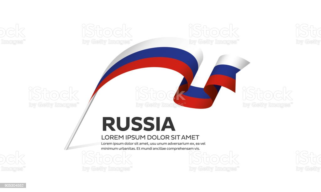 Russia flag background vector art illustration