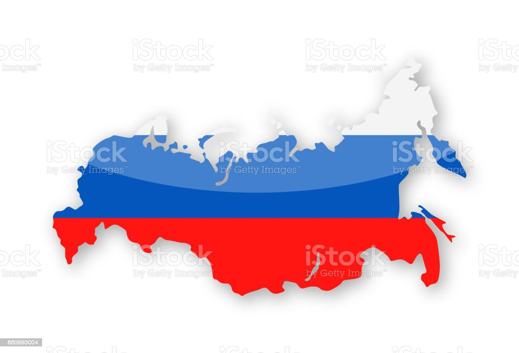 Russia Flag Country Contour Vector Icon vector art illustration