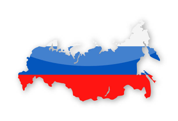 russia flag country contour vector icon - russian flag stock illustrations, clip art, cartoons, & icons