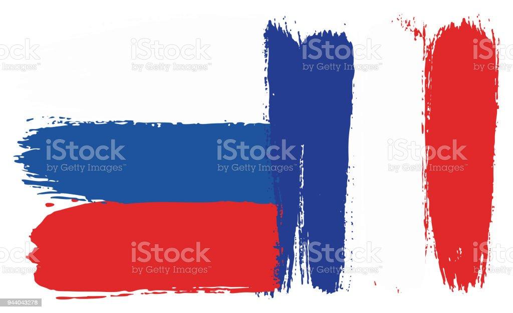 Rusya Bayrağı Ve Fransa Bayrağı Vektör El Yuvarlak Fırça Ile Boyalı
