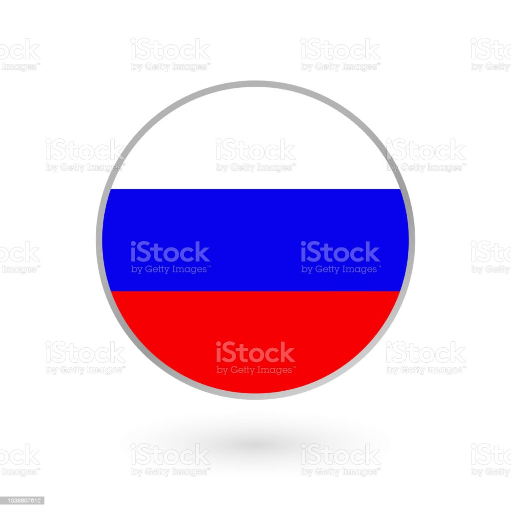 Russia Flag Icon Isolated On White Background Russian Round