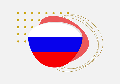 Russia flag icon or badge. Russian national emblem with abstract background and geometric shapes. Vector illustration.