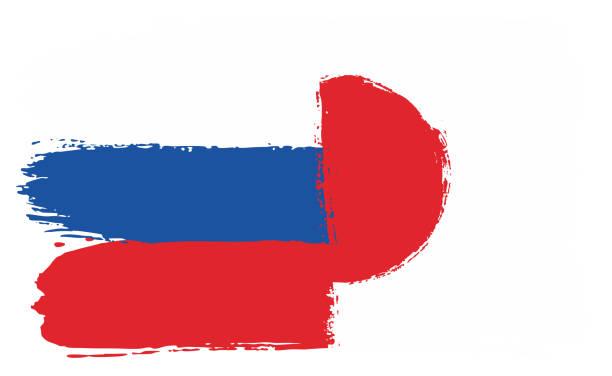 ロシアの旗・日本国旗ベクトル手描きの丸いブラシで - ロシアの国旗点のイラスト素材/クリップアート素材/マンガ素材/アイコン素材
