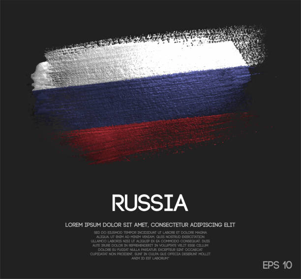 ilustraciones, imágenes clip art, dibujos animados e iconos de stock de bandera de rusia de brillo brillo brocha pintura vectorial - bandera rusa