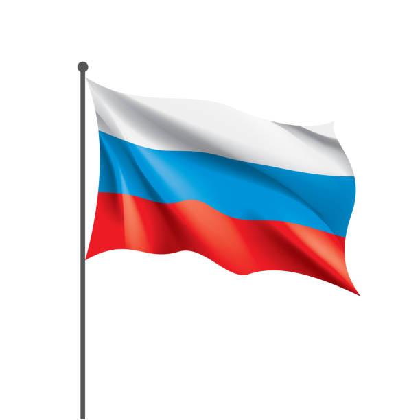 Russia flag, vector illustration on a white background vector art illustration